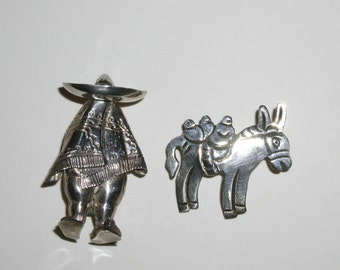 Two Vintage .925 Silver Brooches Sombrero and Burro Donkey Sterling