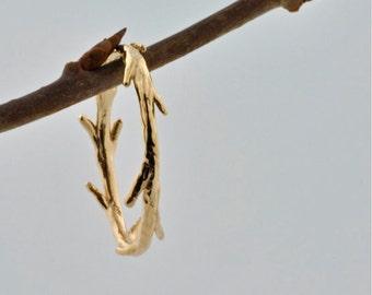 14k White Gold Twig Ring   Stacking Ring   Nature Inspired Ring