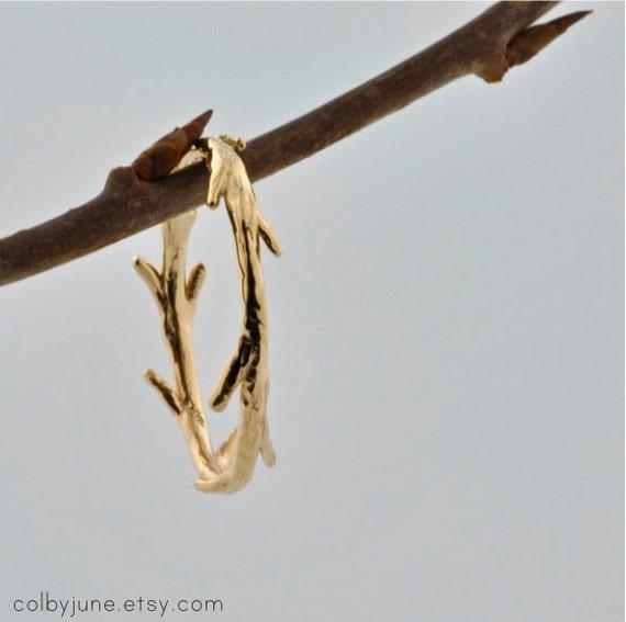 14k White Gold Twig Ring | Stacking Ring | Nature Inspired Ring