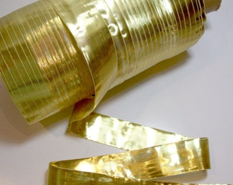 Metallic Gold Ribbon, Metallic Gold Lame Ribbon 1 1/2 inches wide x 5 Yards, SECOND QUALITY FLAWED