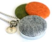 Halloween Locket Necklace - Mirror Locket - Custom Stamped Jewelry - Magnetic Jewelry - Felt Necklace - Green, Gray, Orange - Polarity