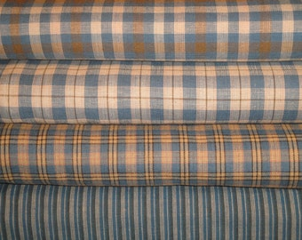 Homespun Fabric Fat Quarter Bundle Blue, Natural & Khaki