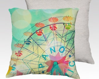 Pillow cover, cushion, carnival, circus, kids room, Barcelona Spain, turquoise, nursery,  home furnishings, throw pillows,  square pillow