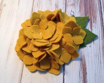 Wool Felt Hydrangea - Old Gold Set of 2