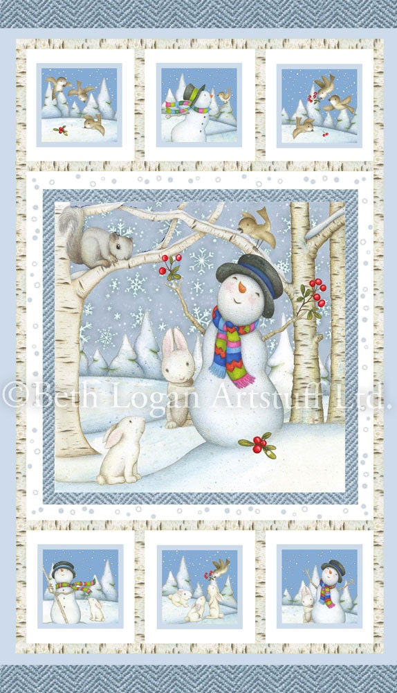 Snow Babies Flannel Fabric 25 Inch Panel