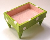 embossed floral Pottery Dish :) shabby chic pale pink & lime polka dots