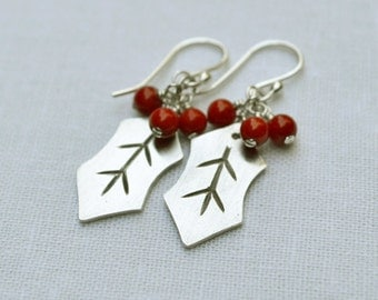 Holly Leaf Earrings - PMC Metal Clay, Sterling Silver, Red Coral Beads, Holiday, Christmas, Deck the Halls