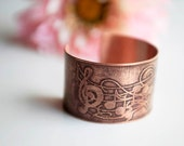 BF/CM Sale 20% OFF music notes pattern etched copper cuff bracelet patina jewelry wearable art