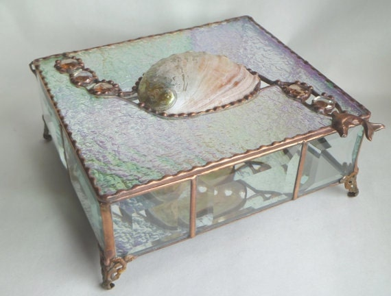 Stained Glass Jewelry Box, Abalone Shell Inlay with Iridescent Clear Stained Glass and Cut Glass Bevels