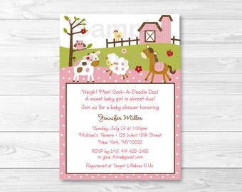 Cute Pink Farm Animal Baby Shower Invitation / Farm Animal Baby Shower Invite / Farm Baby Shower Theme / Baby Girl / Printable