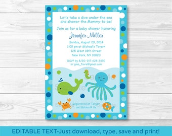 Under the Sea Baby Shower Invitation INSTANT DOWNLOAD Editable PDF