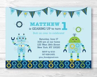 Robot Birthday Invitation / Robot Birthday Invite / Baby Bot Birthday Invite / Baby Bot Party / Bow Birthday / PRINTABLE Any Age