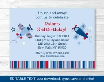 Airplane Birthday Invitation INSTANT DOWNLOAD Editable PDF A337