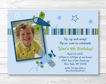 Airplane Birthday Invitation PRINTABLE Any Age
