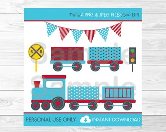 Choo Choo Train Clipart / Train Clipart / Train Engine / Train Birthday / Train Baby Shower / PERSONAL USE Instant Download