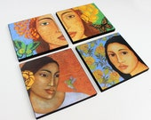 Choose your Favorite- Wood Mounted Prints of Original Mixed Media Portrait Paintings