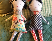 Handmade Dolly with 3 Hats & Scarf
