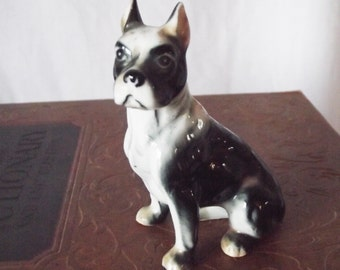 Vintage Dog Figurine - Boxer or French Bulldog- Bone China