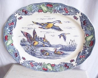 Vintage Platter - Duck - Polychrome Blue Transferware - Large