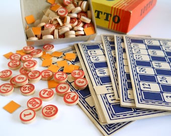 Vintage Lotto Game Pieces • Whitman Publishing Game • Wood Numbers Cards
