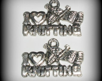 4 I Love Knitting Pewter Charms - Knitting Charms - Knitting Needle Charms - Sweater Charms - Lead Free Charms (wu5c743s)