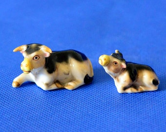 Vintage Bull and Calf Figurines by Victoria Ceramics - Bone China - Made in Japan