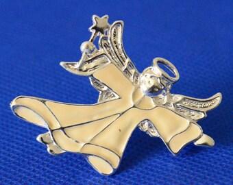 Enameled Angel Brooch - Vintage Christmas Costume Jewelry Pin