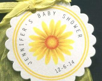 Personalized Baby Shower Favor Tags, yellow daisy, set of 25