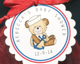 Nautical Theme Personalized Baby Shower Favor Tags With Sailor Teddy Bear, Set of 25 Round Scallop Tags
