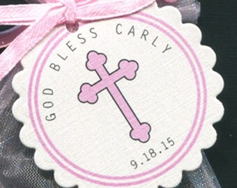 Personalized Baby Girl Baptism Favor Tags, Christening Favor Tags, Communion Favor Tags, Pink Cross With Scallop Border