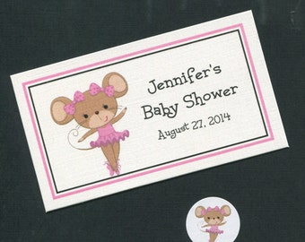 Personalized Baby Shower Favor Topper Labels, Candy Stickers and Plastic Bag Set, ballerina mouse, set of 40