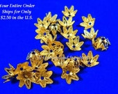25 Gold Plated Bead Cap Star 6 Point 7-9mm - 25 pc - 1121-10
