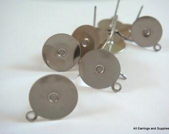 10 Stainless Steel Flat Pad Earstud w loop 10mm - 10 pc - 6272-1