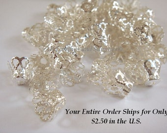 20 Silver Plated Bead Caps Flower Basket Iron 8mm  - 20 pc - F4173BC-S20