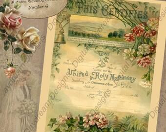 Wedding Keepsake Printable Wedding Certificate Marriage Certificate Instant Download No 6 Vintage Victorian Digital DIY Wedding Shower Gift