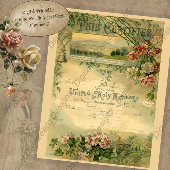 Wedding Keepsake Printable Wedding Certificate Marriage
