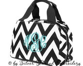 Personalized Lunch Bag Chevron Black Insulated Monogrammed School