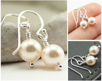Drop Pearl Earrings June Birthstone Earrings. Cream Swarovski Pearls. Drop Earrings. Ivory Pearl Earrings.  Bridal Jewelry Sterling Silver