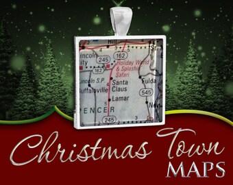 Santa Claus, Indiana | Christmas Town Map Pendant