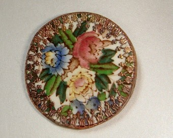 Copper Edged Vintage China Brooch - Various Patterns