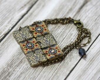 Moroccan Mosaic Bracelet - Mosaic Bracelet - Moroccan Bracelet - Floral - Vintage Fabric - Rhinestone Jewelry - Bridesmaid - Gift - Mother