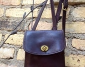 Vintage Coach Purse Brown Leather Crossbody 1980's Small Sidepack