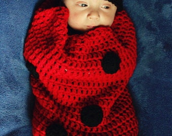 Little Lady Bug  Costume or Infant Photoraphy Prop Black and Red Bug for Babies and Halloween