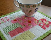 Quilted Strawberry Mini Quilt Red Pink Large Mug Rug Table Mat Table Topper Berry Art Quilt