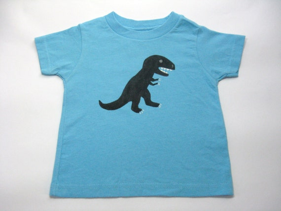 Dinosaur T Shirt, T Rex Tee or Top, Dinosaur Outfit, Museum Trip Shirt, Dinosaur Theme Shirt, Hand Painted, Short Sleeves, Baby and Toddler