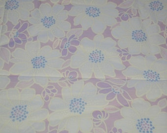 vintage 80s cotton fabric, featuring lovely blue, cream and lavender large floral print, 1 yard 24 inches