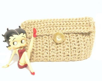 Beige Wallet Checkbook Cover or Small Cosmetic Bag