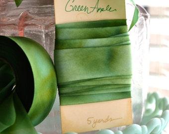 Green Apple-Hand Dyed Silk Ribbon by Hanah Silk 1 inch wide