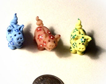 Little Pig Piggy Bank - Hand Sculpted Hand Painted Dollhouse Bank Miniature 1 Inch Scale in Custom Colors