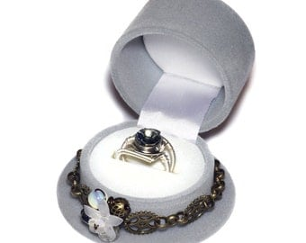 Limited Edition - Grey Steampunk Top Hat Single Ring Box and Black Diamond Swarovski Crystal Ring